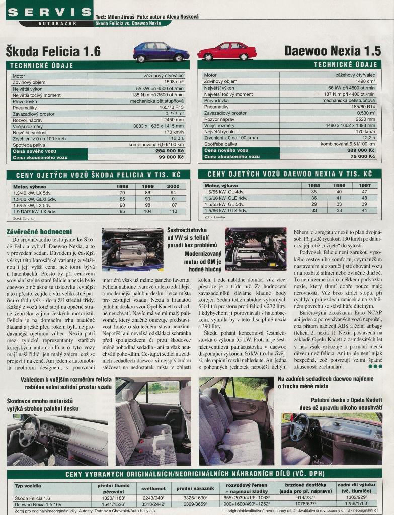 Daewoo Nexia vs. Škoda Felicia 3
