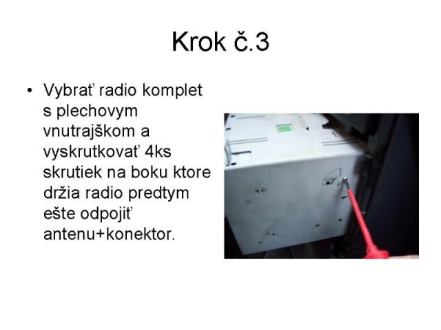 Výměna originálního radia Tank 5