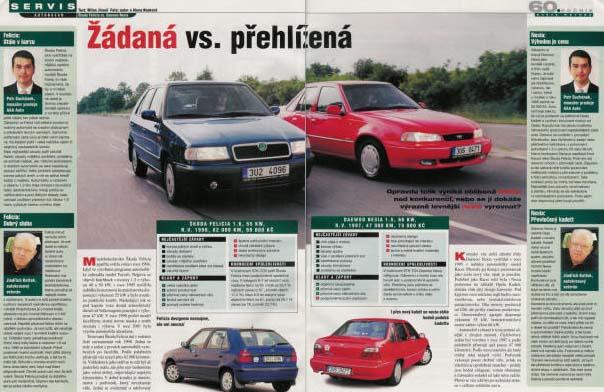 Daewoo Nexia vs. Škoda Felicia. Recenze z časopisu Svět motorů